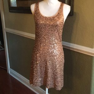 MAX STUDIO RACER BACK TAN BRONZE SEQUENCE DRESS